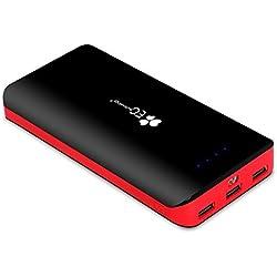 [La batteria da 22400mAh più compatta in circolazione] EC Technology Powerbank 22400 Caricabatterie Portatile - Ultra capacità di 22400mAh con 3 porte USB, per iPhone, iPad, Samsung Galaxy e Altri (Rosso/Nero)