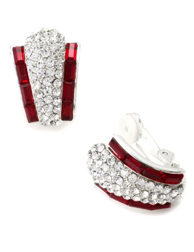 Silver Siam Rhinestone Rectangle Baguette Side Wrap Clip Earrings with Pave Wide C-hoop Shape