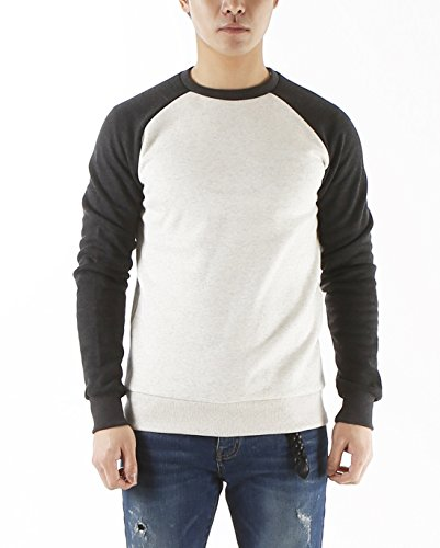 Caere Men's Raglan Crew Neck Long Sleeve Baseball 100% Cotton Jersey Sweatshirt Ivory-Charcoal - Raglan Crewneck Long Sleeve