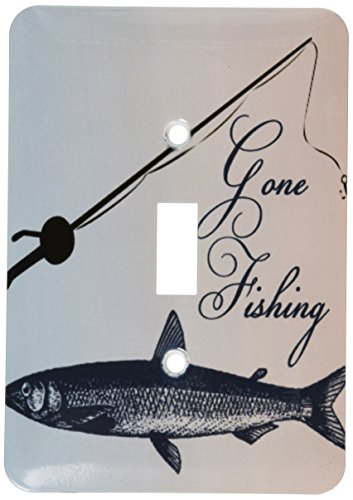 - 3dRose lsp_99326_1 Gone Fish with Pole-Beach Theme Art Single Toggle Switch, Multicolor