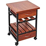 KARMAS PRODUCT Beside End Table Nightstand with 2 Drawers,Rolling Bedroom Living Room Coffee Table with Storage Shelf,Teak Colour