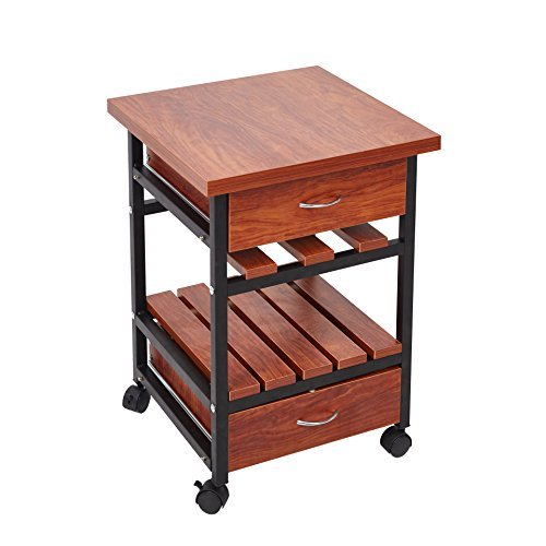 KARMAS PRODUCT Beside Table with Drawers Rolling Nightstand Small End Table,Bedroom Living Room Side Table with Storage Shelf,Cherry Finish