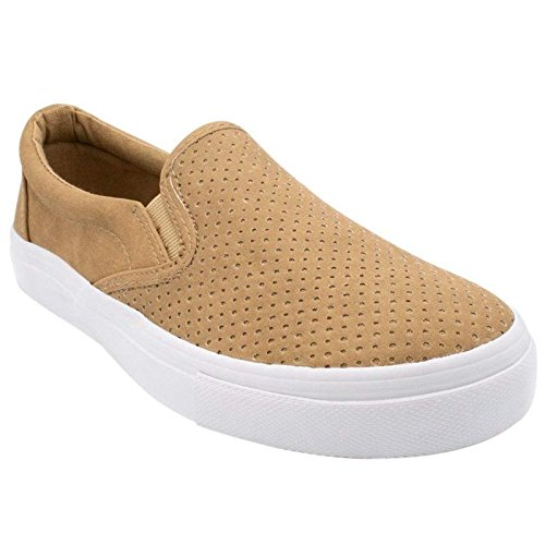 SODA Shoes Women's Tracer Slip On White Sole Shoes, Camel Pu, 7 (Soda Package)