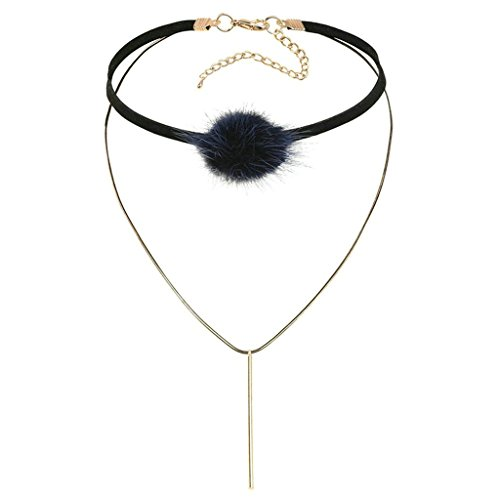 [AmDxD Jewelry Stainless Steel Women Choker Necklaces Gold Black Plush Velvet Hairy Ball Column 32X3CM] (Peter Pan Costumes Diy)