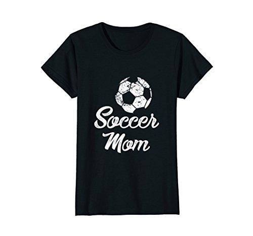 Womens Soccer Mom Shirt, Cute Funny Player Fan Gift Large Black