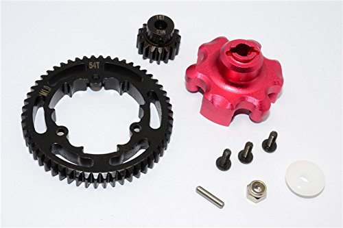 Traxxas X-Maxx 4X4 Upgrade Parts Aluminum Gear Adapter + Steel Spur Gear 54T + Motor Gear 16T (For X-Maxx 6S Only) - 1 Set Red