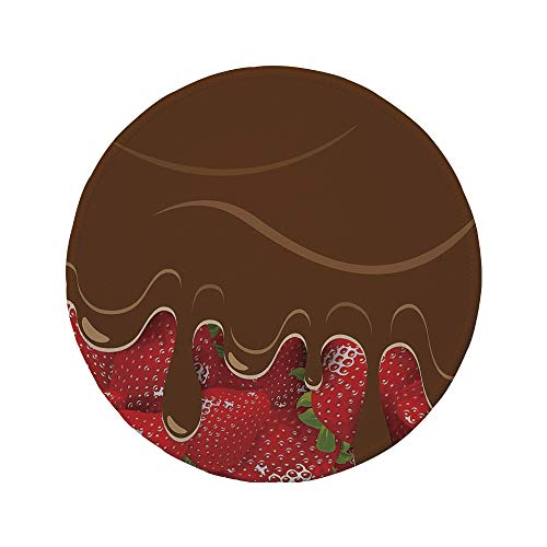Non-Slip Rubber Round Mouse Pad,Kitchen Art Wall Decor,Strawberries Melted Chocolate Confectionery Fruit Sweet Delicacies,Brown Red,7.87