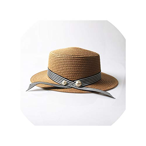 Lady Sun caps Ribbon Round Flat Top Straw Beach hat for sale  Delivered anywhere in Canada