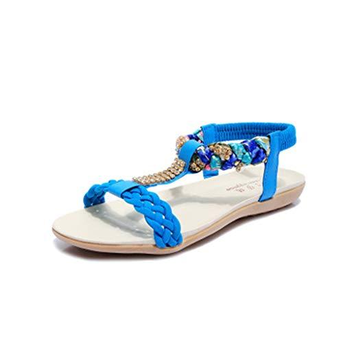 toe Ningsun Mocassini Moda Casuale Blu Estive Sandali Stile Bohémien Da Eleganti Appartamento Spiaggia Scarpe Cristallo Peep Pantofole Donne arqpUwa