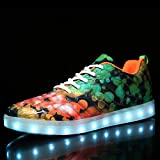 SEVENWELL Unisex Couple USB Charging Light Up Shoes Sports LED Shoes Dancing Sneakers Night Running Shoes Multi-Colored 245mm:8.5 B(M) US Women/6.5 D(M) US Men