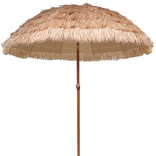 AMMSUN 7.5ft Hula Thatched Tiki Umbrella Hawaiian Style Beach Patio Umbrella 10 Ribs UPF 50+ with Tilt Natural Color -