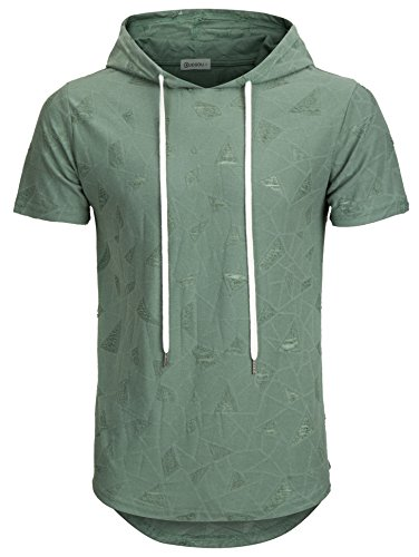 KLIEGOU Men's Hipster Hip Hop Hoodie Hole Tshirt 1705-2 (X-Large, Dark Green) by KLIEGOU