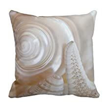 pillow perfect White Seashells Starfish Tropical Beach Sea Shells Pillowcases Personalized 18x18 inch Square Cotton Throw Pillow Cover Twin Sides