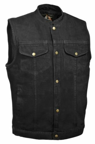 Mens Son Of Anarchy Black Denim Textile Motorcycle Vest Gun Pockets Inside   4Xl Regular