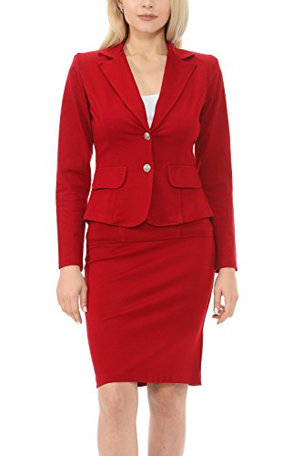 Sweethabit Women's Classic Slim Fit Blazer and Skirt Suit Set - Made In USA(3017) (Medium, Red) (Blazer Skirt)