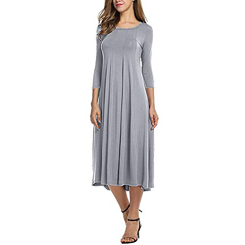 Wobuoke Womens Casual Autumn Half Sleeve Loose Ladies Evening Long Swing Midi Dress Clearance