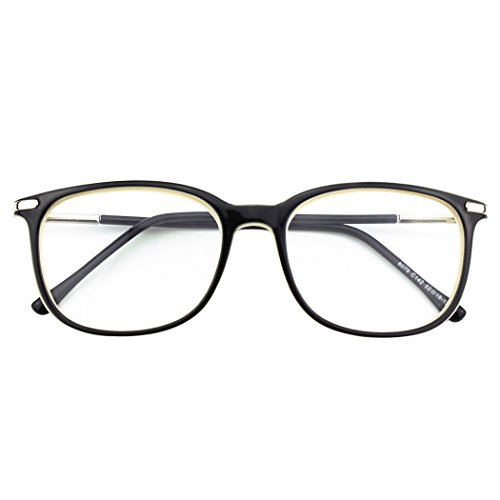 Happy Store CN79 High Fashion Metal Temple Horn Rimmed Clear Lens Eye Glasses,Black ()