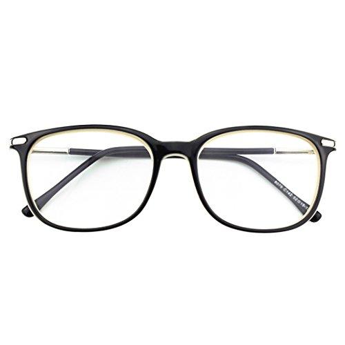 - Happy Store CN79 High Fashion Metal Temple Horn Rimmed Clear Lens Eye Glasses,Black Beige