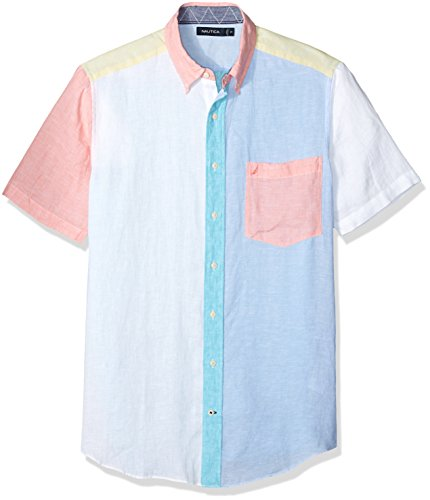 Nautica Men's Tall Short Sleeve Classic Fit Solid Linen Button Down Shirt, Bright White, 4X Big