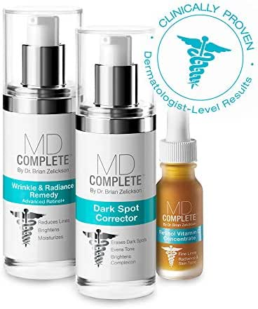 MD Complete DARK SPOTS & FIRMNESS TRIO (Dark Spot Corrector + Wrinkle Radiance Remedy + Retinol Vitamin C Concentrate) with 2% Hydroquinone and Retinol DSCTRIO