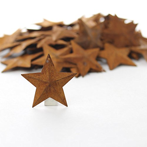 Group of 100 Rusted Metal Stars with Hole for Decorating