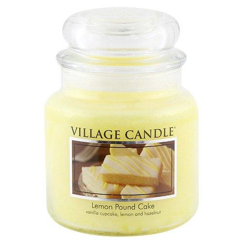 Village Candle Lemon Pound Cake 16 oz Glass Jar Scented Candle, Medium
