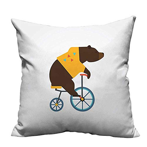 Bag Slumber Circus - YouXianHome Lovely Cushion Covers Big Teddy Bear Icon of Circus Riding Bicycle with Trendy Hipster Costume Animal Resists Stains(Double-Sided Printing) 26x26 inch