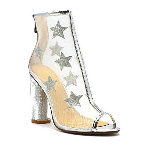 Women's Sheer Mesh and Glitter Star Paneled Chunky Heel Bootie