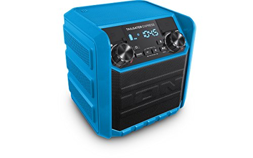 ION Audio Tailgater Express Blue | Compact Water-Resistant Wireless Speaker System with AM/FM Radio & USB Charge Port (20W)