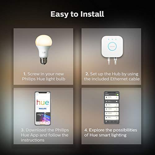 Philips Hue White LED Smart Light Bulb Starter Kit, 3 A19 Smart Bulbs & 1 Hue Hub, (Works with Alexa, Apple HomeKit, and Google Assistant)