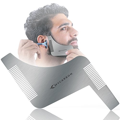 MYCARBON Beard Trimming Guide,Stainless Steel Beard Shaping Tool with Comb for Multiple Beard Styles,Beard Grooming Kit with Handle for men,Easy Shape Beard Template for cheek/neck/jaw - Styles Face Shape Beard For