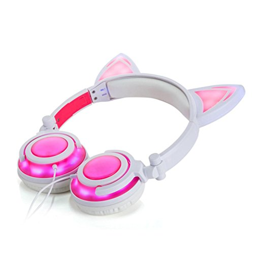 Price comparison product image GBSELL Cat Ear Headphones Foldable LED Gaming Music Lights USB Charger Headphone Earphone Headset for Girls,Children,Compatible for iPhone 6S,Android Phone,Laptop (Pink)