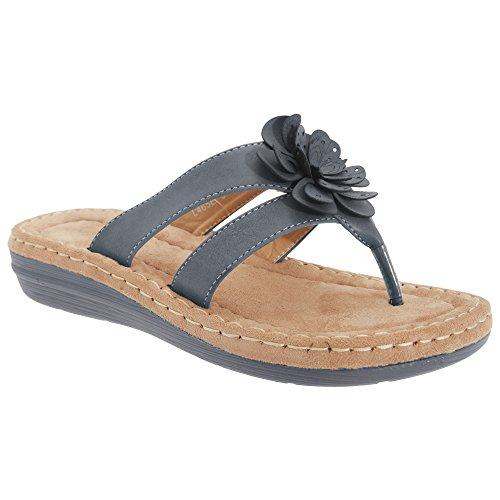 flor Boulevard azul de de con sandalias Damas para punta mujer adornos denim UqwYF41q
