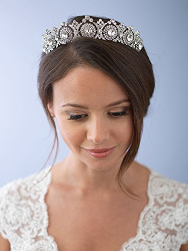 USABride Wedding Tiara Bridal Crown Vintage Antique Silver-Plated Rhinestone Headpiece 3286 by !iT Jeans (Image #3)