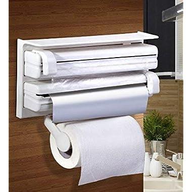 RYLAN Plastic Triple Tissue Paper Dispenser 4 in 1 Foil Cling Film Tissue Paper Roll Holder for Kitchen Triple Paper Roll Dispenser and Holder for Tissue Paper Roll, Kitchen Tissue Holder Stand. 8