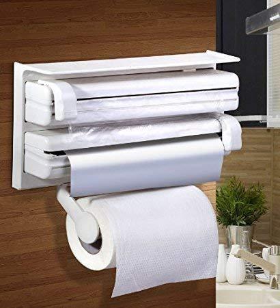 RYLAN Plastic Triple Tissue Paper Dispenser 4 in 1 Foil Cling Film Tissue Paper Roll Holder for Kitchen Triple Paper Roll Dispenser and Holder for Tissue Paper Roll, Kitchen Tissue Holder Stand. 2