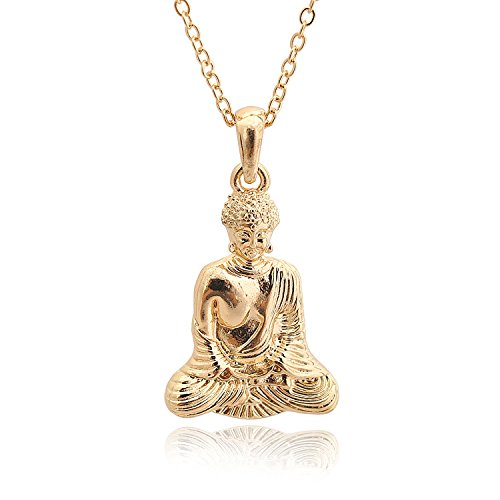chelseachicNYC High Gloss Serene Buddha Necklace (Gold) Buddha Pendant Charm