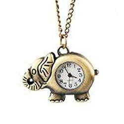 Oulm Women's Pocket Watch Elephant Shape Color Bronzy