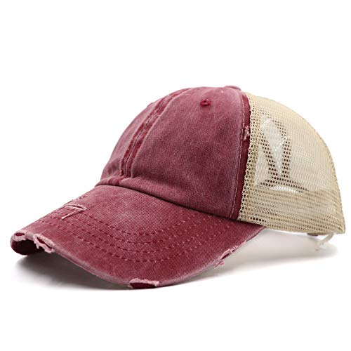Distressed Vintage Mesh Dad Hat Plain Baseball Cap Low Profile Unconstructed Trucker Messy High Bun Hat Adjustable Ponycaps