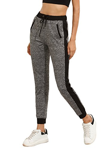 (SweatyRocks Women Pants Colorblcok Casual Tie Waist Yoga Jogger Pants, Black Grey #2, Medium)