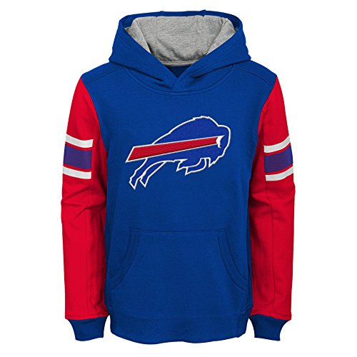 (NFL Buffalo Bills Kids & Youth Boys Man in Motion Color Blocked Pullover Hoodie, Royal, Kids)