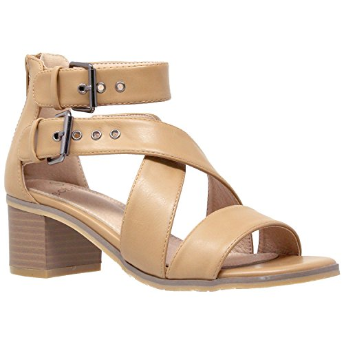 Womens Dress Sandals Strappy Buckle Accent Chunky Block Low Heel Shoes Tan SZ ()