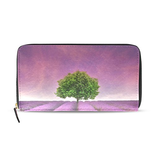 Ethel Ernest Lavender Field With Single Tree Sunset Landscape PU Leather Card Cash Coin Wallets Zipper Clutch Purse For Womens
