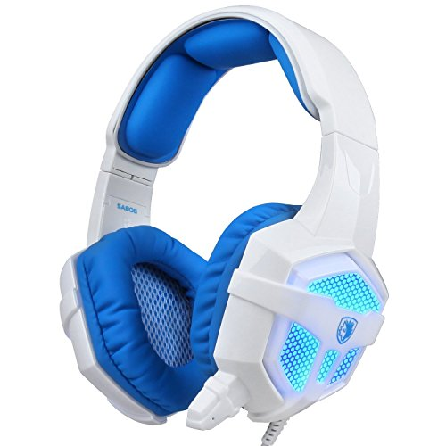 (Sades SA-806 3.5mm Professional Stereo Gaming Headphone Blue Led Lighting Headsets with Microphone for Laptop PC(White-Blue))