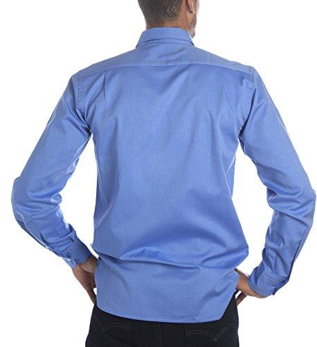 Deep Brody Camisa de Hombre Deep Frost Casual Italia. Puro algodón de Color  Azul. Cuello Abotonado bfe76ab63d3e9