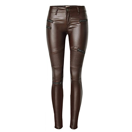 Brown Leather Motorcycle Trousers - 8