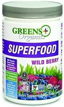 Greens+ Organic Superfood Wild Berry   Essential Blend of Raw Green Foods, Superfruit and Sea Vegetables   Vegan   USDA Organic   Dietary Supplement   Non - GMO, Soy Dairy & Gluten-Free   Size 8.46oz