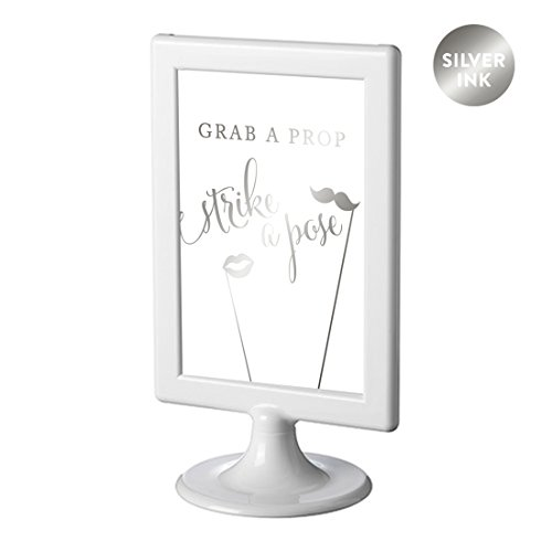 Andaz Press Framed Wedding Party Signs, Metallic Silver Ink, 4x6-inch, Grab a Prop & Strike a Pose Photobooth Sign, Double-Sided, 1-Pack, Colored Decorations