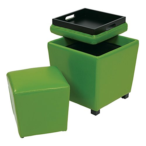 2 Piece Green Square Shape Small Ottoman, Vinyl Wood Material, Solid Furniture Pattern, Contemporary Style, Standard & Storage Type, Assemble, For Living Room & Bedroom, Medium Green - Metro Square Storage Ottoman