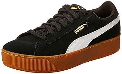 PUMA Women's Puma Vikky Platform Blk-wht Shoes, Puma Black-puma White-Metallic, 6 US
